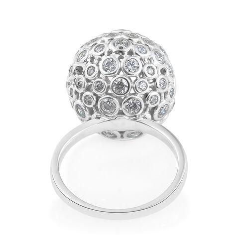 J Francis - Platinum Overlay Sterling Silver (Rnd) PRISM Ring Made with SWAROVSKI ZIRCONIA, Silver wt 8.30 Gms.