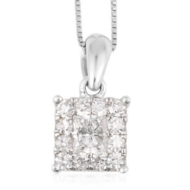 New York Close Out- 14K White Gold Princess Cut Diamond (I1/G-H) Pendant with Chain (Size 18) 0.500 Ct.