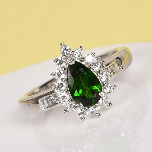 Russian Diopside and Natural Cambodian Zircon Ring in Platinum Overlay Sterling Silver 1.50 Ct.