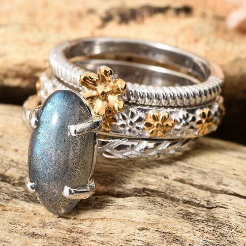 Set of 3 - GP Labradorite (Ovl 14x7 mm), Kanchanaburi Blue Sapphire Ring in Platinum and Yellow Gold Overlay Sterling Silver 4.000 Ct, Silver wt 8.00 Gms.