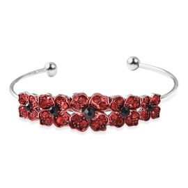 Red and Black Austrian Crystal (Rnd) Poppy Floral Cuff Bangle (Size 7) in Silver Plated