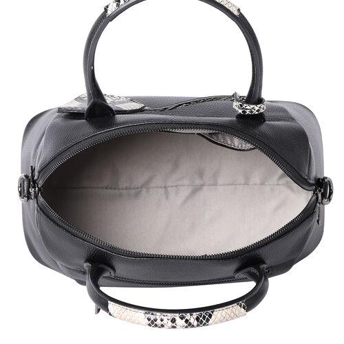 100% Genuine Leather Handbag with Detachable Shoulder Strap and Zipper Closure (Size 32x17x27 Cm) - Black