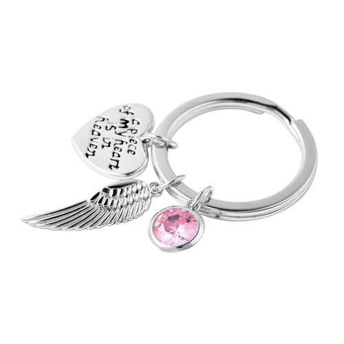 Charms De Memoire Sterling Silver Simulated Pink Tourmaline, Angel Wing and Heart Charms in Key Chain
