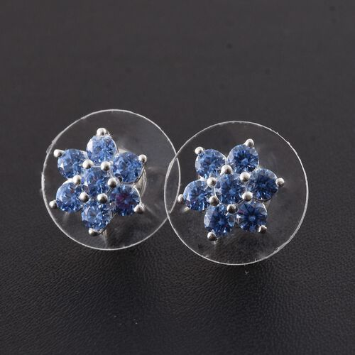 J Francis - Sterling Silver (Rnd) Floral Stud Earrings (with Push Back) Made with Blue SWAROVSKI ZIRCONIA