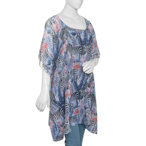 New Arrival- Blue,Black and Multi Colour Flamingo and Zebra Printed Kaftan (Size 90x65 Cm)
