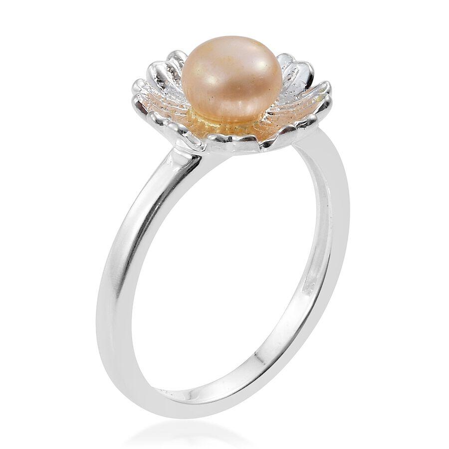 Genuine fresh water pink pearl daisy flower ring in sterling silver fresh water pearl rnd 6mm daisy flower ring in sterling silver izmirmasajfo