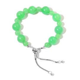 Rare Green Jade (Rnd) Adjustable Beads Bracelet (Size 6.5 - 9) in Rhodium Overlay Sterling Silver 45.000 Ct.