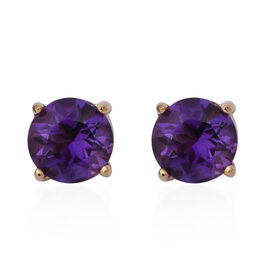 One Time Deal-Zambian Amethyst (Rnd) Stud Earrings (with Push Back) in Yellow Gold Overlay Sterling