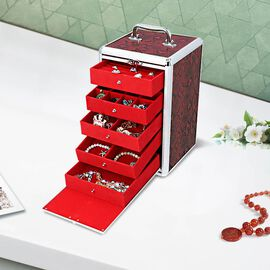 New Arrival- Five Tier Anti-Tarnish Snake Skin Pattern Jewellery Box with Lock and Handle - Red