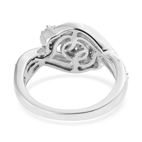 J Francis - Platinum Overlay Sterling Silver (Rnd) Cluster Ring Made with SWAROVSKI ZIRCONIA