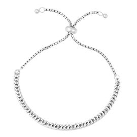 Adjustable Foxtail Chain Bracelet in Rhodium Plated Sterling Silver 7.21 Grams
