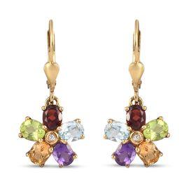 Mozambique Garnet, Skyblue Topaz,  Peridot and Multi Gemstones Flower Earrings in 14K Gold Overlay S