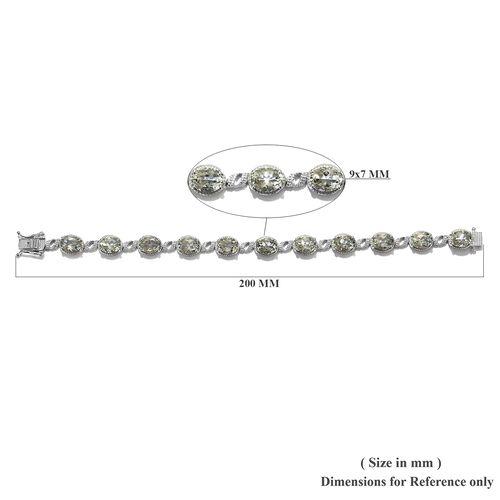 Prasiolite (Ovl) Bracelet (Size 7.5) in Platinum Overlay Sterling Silver   18.00 Ct, Silver wt 16.00 Gms