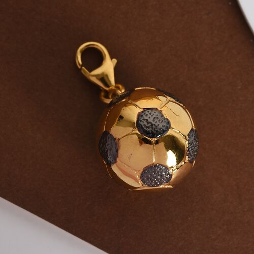 WEBEX- 14K Gold and Black Overlay Sterling Silver Football Charm, Silver wt 4.60 Gms