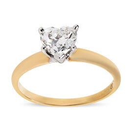 0.91 Carat Diamond Heart Solitaire Ring in 14K Gold 2.09 Grams