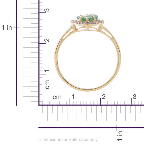 Designer Inspired-Limited Edition- 9K Yellow Gold Kagem Zambian Emerald (Mrq), Natural White Cambodian Zircon Ring 1.750 Ct.