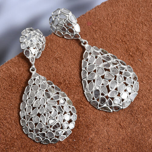 4 Ct Polki Diamond Drop Cluster Earrings in Platinum Plated Sterling Silver 5.90 Grams