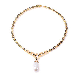Baroque Pearl and Natural Cambodian Zircon Enamelled Removable Drop Necklace (Size 18) in Gold Overl