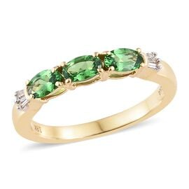 ILIANA - 18K Yellow Gold Tsavorite Garnet (Ovl) Band Ring 0.800 Ct.