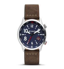 Columbia Outbacker Navy 3-Hand Date Saddle Leather Watch
