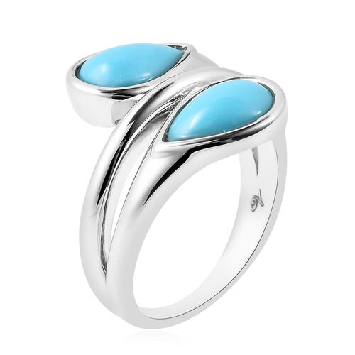 LucyQ AAA Arizona Sleeping Beuaty Turquoise Bypass Ring in Rhodium Overlay Sterling Silver 2.020  Ct