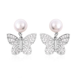 Simulated Pearl and Simulated Diamond Butterfly Drop Earrings in Silver Tone