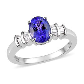 1.50 Ct RHAPSODY AAAA Tanzanite and Diamond Ballerina Ring in 950 Platinum 5.70 Grams VS EF