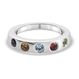 Sky Blue Topaz, Amethyst and Multi Gemstone Band Ring Platinum Overlay Sterling Silver 0.680 Ct.
