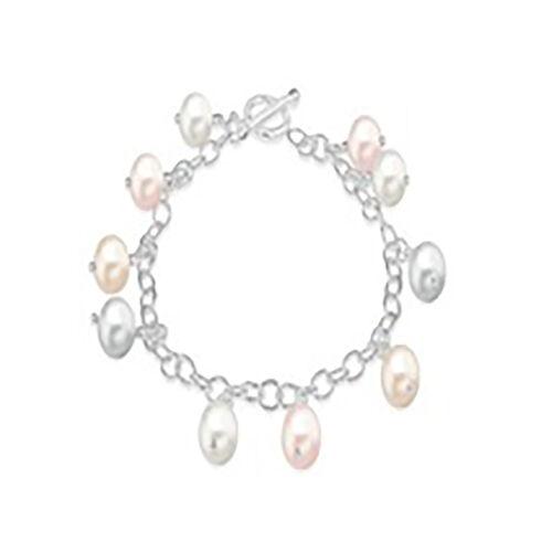 Charmes De Memoire Multi Colour Pearl Charm Bracelet in Sterling Silver 7.5 Inch