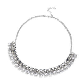 White Austrian Crystal Necklace (Size 18) in Silver Tone