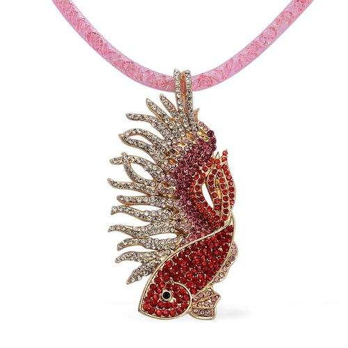 Designer Inspired AAA Multi Colour Austrian Crystal Fish Necklace (Size 20 with 2 inch Extender) in Gold Tone