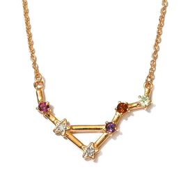 Diamond and Multi Gemstones Necklace (Size 20 with 2 inch Extender ) in 14K Gold Overlay Sterling, S