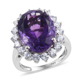 Extremely Rare Size Moroccan Amethyst (Ovl 16x12 mm), Natural Cambodian Zircon Ring (Size S) in Platinum Over