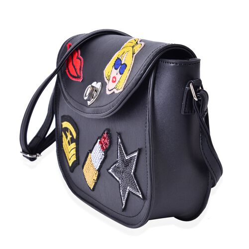 Multi Colour Lip, Star, Fashionable Girl and Lipstick Pattern Black Colour Crossbody Bag with Adjustable Shoulder Strap (Size 26x22x18x6 Cm)
