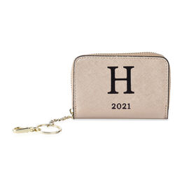 Genuine Leather Alphabet H Wallet with Engraved Message on Back Side (Size 11X7.5X2.5 Cm) - Gold