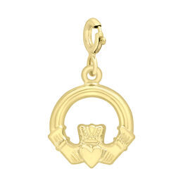 9K Yellow Gold Claddagh Bolt Ring Charm