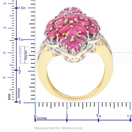 African Ruby (Ovl) Ring in Yellow Gold Overlay Sterling Silver 9.500 Ct. Silver wt 9.33 Gms.
