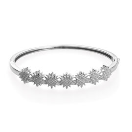 Diamond Star Bangle in Platinum Plated 7.5 Inch