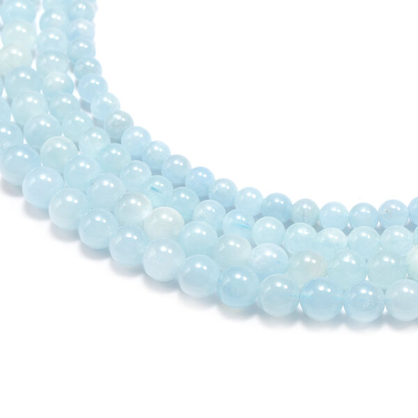 Santa Teresa Aquamarine Four-Row Necklace (Size 16 with Magnetic Lock) in Rhodium Overlay Sterling Silver 604.50 Ct.
