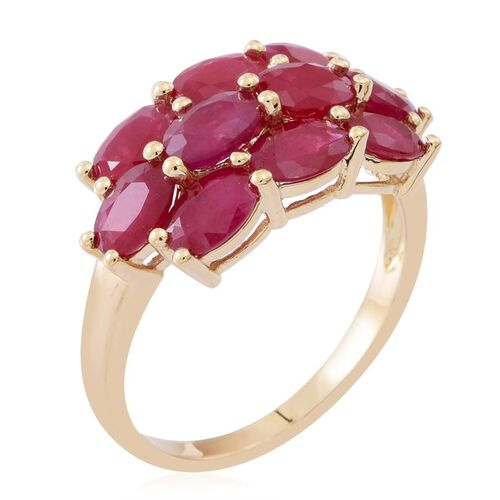 Limited Edition - 9K Y Gold AAAA Burmese Ruby (Ovl) Ring 6.000 Ct.