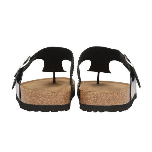 Dunlop Carmen Toe Post Flat Sandals in Black Colour