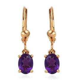 Amethyst (Ovl) Lever Back Earrings in 14K Gold Overlay Sterling Silver 1.500 Ct.