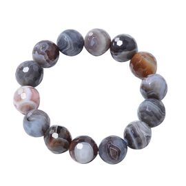 Close Out Deal- Rare Size Botswana Agate (Rnd 15-17 mm) Beads Stretchable Bracelet (Size 6.5-9)  340.000 Ct