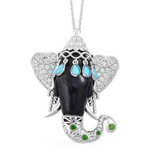 Black Jade, Arizona Sleeping Beauty Turquoise, Russian Diopside and Natural White Cambodian Zircon Elephant Head Pendant With Chain (Size 30) in Platinum Overlay Sterling Silver 41.060 Ct.