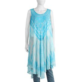Sequin Embellished Tie-Dye Umbrella Dress with Two Side Pockets(One Size; L=105 Cm) - Turquoise
