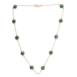 Designer Inspired- Malachite Necklace (Size 18) in Rose Gold Tone 25.00 Ct.