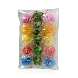 Rose Floating Candles (Size 4.5x4.5x2.5 Cm) - Pink, Yellow, Orange, Green and Red Colour