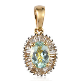 ILIANA 0.90 Ct AAA Mozambique Paraiba Tourmaline and Diamond Halo Pendant in 18K Gold SI GH