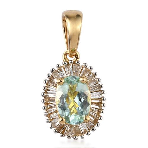 ILIANA 18K Yellow Gold AAA Mozambique Paraiba Tourmaline (Ovl), Diamond (SI/G-H) Pendant