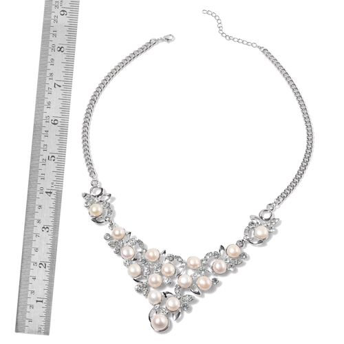 (Option 2) Fresh Water White Pearl and White Austrian Crystal Necklace (Size 18) in Silver Tone 195.000 Ct.